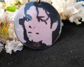 Man in the Mirror Pendant...Michael Jackson Tribute Necklace....Copper Enamel Pendant with Michael Jackson Image