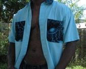 Mens shirt upcycled embelished aqua jellyfish   OOAK
