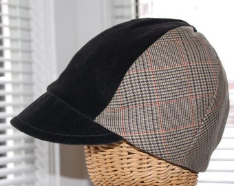 Carnaby Street Peaked Cap - Houndstooth and Velvet - Mod 60s Pattern