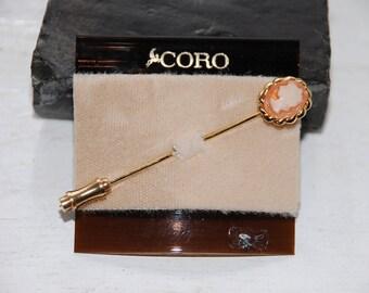 Vintage Coro - Miniature Cameo Stick Pin