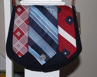 Vintage Upcycled - The Dandy Bag - Vintage Neckties - Navy Pinstripes - Shoulder Purse/Handbag - OOAK