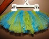 RESERVED for lisaorlandon - green/turquoise glitter tutu - 0-3 months