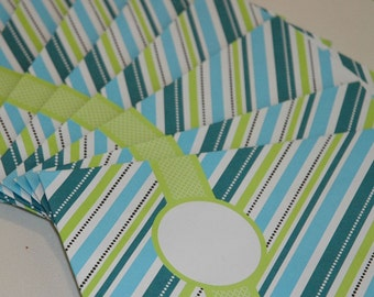Blue and Green Modern Striped Gift/Favor Bag, Great for Packaging (Set of 12)