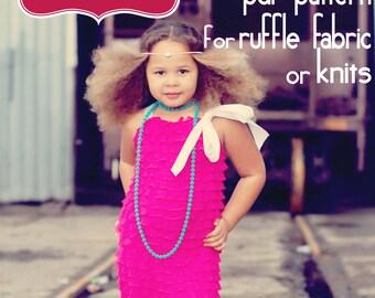 Ruffle Romper PDF Sewing Pattern for ruffle fabric (or knits) Sizes 12 mo. thru 7/8 -digital download-