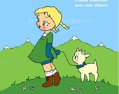 Little Girl with Mountain Goat Print