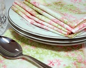Dinner Napkins in Pink and Green Floral  - set of 4