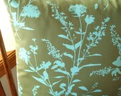 FREE SHIPPING - Pillow Cover - Wildflowers in Sage - 1 - 16 inch square - Envelope style closure