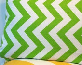 "Chevron Stripe Lumbar Pillow Cover in Lime Green and White - 12"" x 16"""