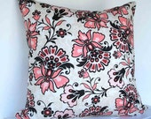 Shabby Chic Pillow cover in pink, gray and black floral 16 inch with zipper closure