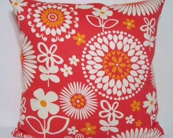 Coral Orange Floral 18 inch pillow cover with zipper closure