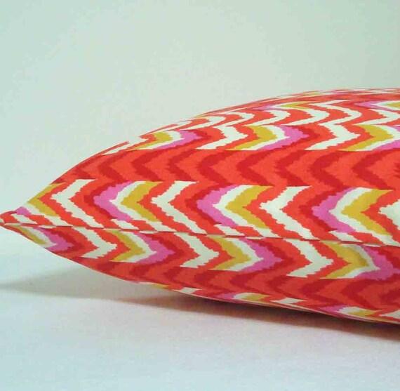 Pillow Cover in Coral Orange ZigZag Chevron 16 inch with zipper closure