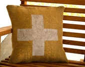 Rustic - Burlap Feed Sack Pillow Cover - Cottage - Swiss Cross - 18x18 - Cottage - Custom - Beach