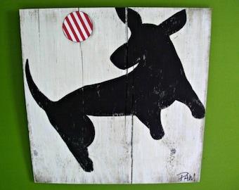 Rustic - Dog Art - Fetch - Folk Art