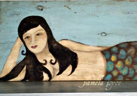 Beach Decor - Rustic - Mermaid - Folk Art - Polynesian