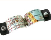 Chicago city Map Cuff industrial wide with leather