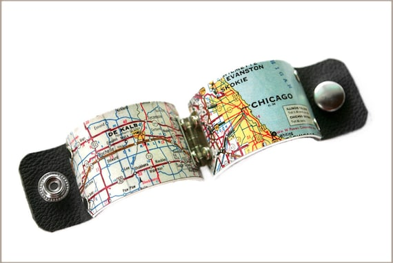 Chicago Map Cuff, Chicago Map, Chicago, personalized jewelry, boho jewelry, leather cuff, leather bracelet