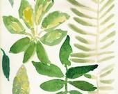 Green leaves Original water color painting