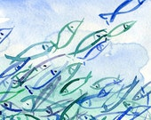 Fish are Jumping abstract watercolor original painting of fish in shades of blue turquoise teal and green