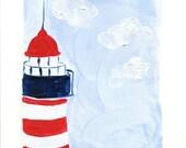 The Lighthouse, Art Print of my original  Acrylic painting, retro inspired, nautical,  Blue sky, Red, Navy blue. White, coast style