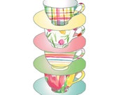 Kitchen art A Stack of Cups  Art Print , colorful shabby chic, limited edition, mothers day, floral, plaids, retro