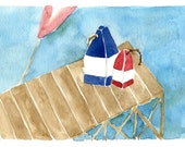 Lobster Buoys on the Pier Print of original watercolor painting nautical. marine, cottage chic, coast, beach. fishing, sea,Navy, Red