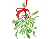 Mistletoe Art print of original watercolor painting ,Christmas bouquet with Red ribbon, Holiday wall decor,Limited edition - TheJoyofColor