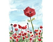 The Poppies field No.4, Print of original watercolor painting, colorful landscape, mothers day, limited edition, landscape painting