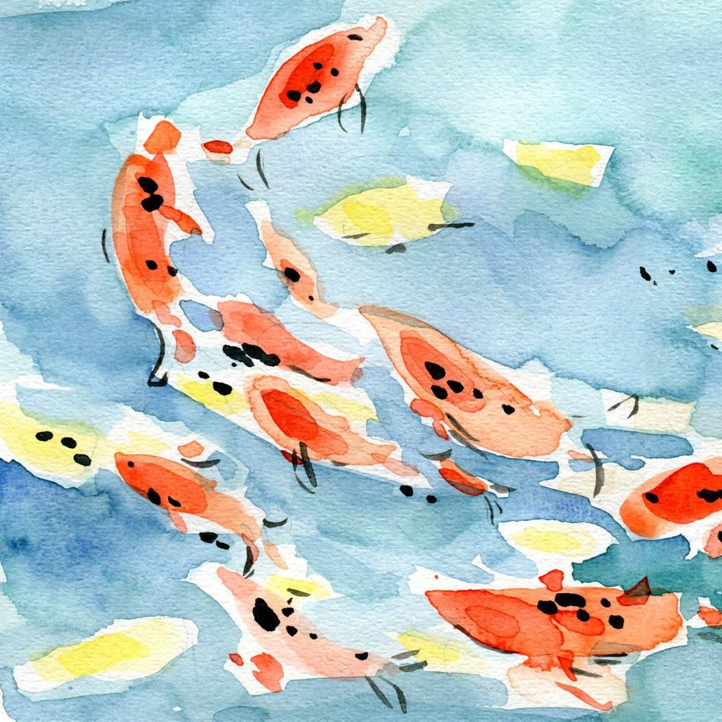 Koi pond art print koi watercolor print koi by thejoyofcolor for Koi fish pond art