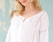 Lace and cotton lounge blouse