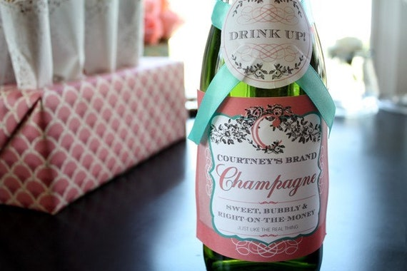 Printable/Editable PDF Personalized Champagne Label