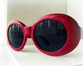 Valentine Red Vintage Sunglasses - Jackie O Frames - Smoke Lenses - Resort Wear Chic - TAGT Team - Fire Grog Studio