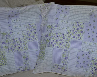 Set Of 2 Country Cottage ROSE GARDEN 17 Inch Throw Pillow Cushion Cover - whites lavenders and lime greens