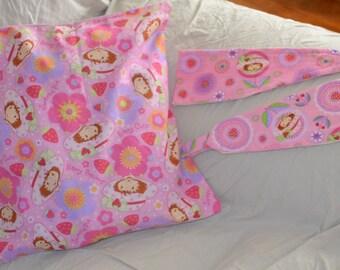 1 Pink STRAWBERRY SHORTCAKE 15 Inch Throw Pillow Cushion Cover Plus 2 Curtain Tiebacks