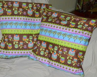 "Set Of 2 Colourful  Reto JEWELLED OWLS 16 "" Inch Cotton Throw Pillow Cushion Covers"