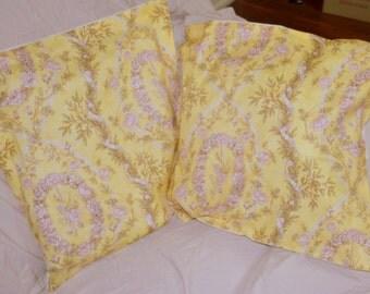 Set Of 2 Cotton 17.75 Inch Sunbathed Lemon ROSE SCROLLS Cushion Throw Pillow Cushion Covers