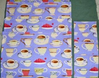 Set Of 4 Retro Meets VINTAGE Style TEACUPS Triple Layer Cotton Table Placemats PLUS 4 Drink Coasters