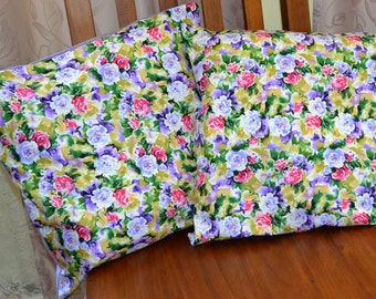 Set Of 2 Pretty Fuschia & Purple Watercolour ROSES 16 Inch Throw Pillow Cushion Covers