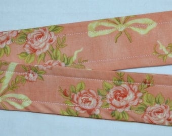 2 Cottage CHIC Dusty Sponged PINK ROSES Cotton & Ribbon Loop Curtain Tiebacks - Add some sparkle and shimmer to your drapes or curtains
