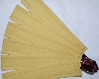 6 Dijon MUSTARD & CHOCOLATE Cotton And Shimmery Ribbon Loop Curtain Tiebacks - See My Shop For Other Colours Available
