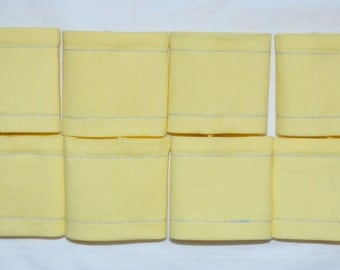 SALE 8 Pastel LEMON YELLOW Triple Layer Cotton Napkin Rings - See my shop for lots of colours available.