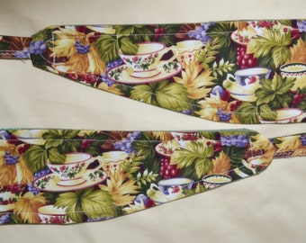 2 New Pretty Tuscan Vineyard GRAPES & TEACUPS Cotton Curtain Tiebacks - See my shop for lots of colours and styles available