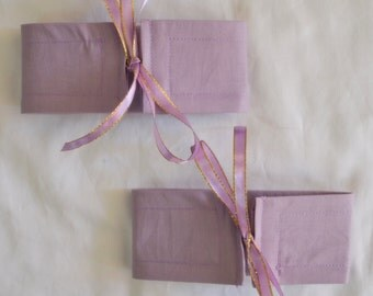 4 SMALL Wrap N Tye Misty LILAC Cotton & Ribbon Curtain Cuff Tiebacks - See my shop for lots of other styles and colours