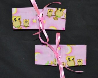 4 SMALL Wrap N Tye STARRY Night OWLS Cotton And Ribbon Bow Curtain Cuff Tiebacks - See My Shop For Lots Of Colours Available