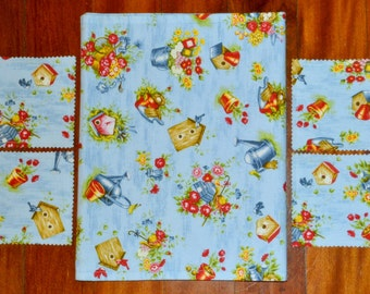 9 Pce Blue Country Cottage BIRDS Birdhouses & FLOWERS Triple Layer Cotton Table Runner Plus 4 Napkin Rings Plus 4 Drink Coasters