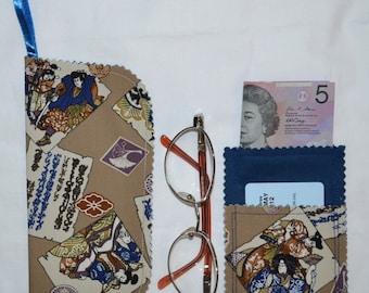 Closeout SALE Oriental SCROLLS 3 Pocket Wallet Card Coin Cash Purse Plus Matching Belt Handbag Hang Glasses Cell Phone Case