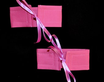 4 SMALL Wrap N Tye HOT PINK Cotton And Ribbon Bow Curtain Cuff Tiebacks - See My Shop For Lots Of Colours Available