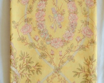 Sunshine Pink ROSES Scrolls Reversable Reversible Cotton Runner 38.2 x 13.3 Inches - Pretty shades of warm lemons pinks and greens