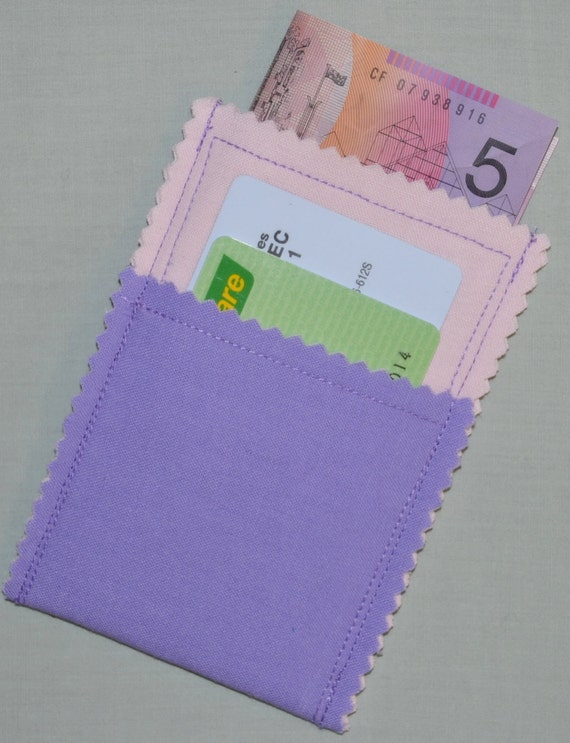 Closeout SALE Pretty PURPLE & PINK 3 Pocket Business Card Case Wallet Card Cash Coin Purse - See my shop for designs for both men and women