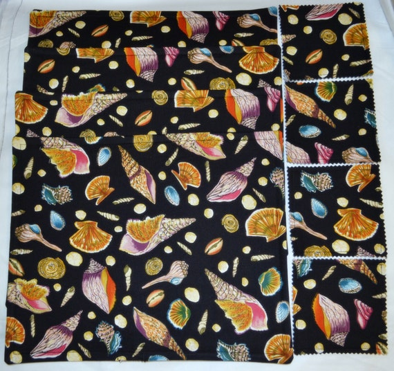 12 Pce BEACH SEASHELLS Triple Layer Cotton Set Of 4 Table Placemats 4 Drink Coasters & 4 Napkin Rings Set