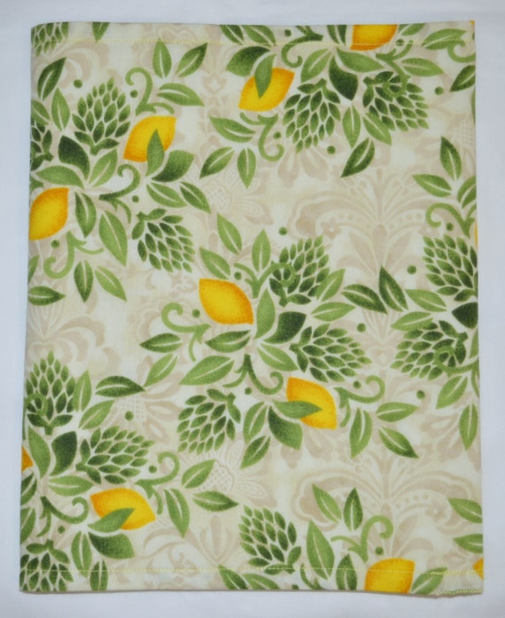 Contemporary Market Fresh LEMONS  38.3 x 12 Inch Triple Layer Cotton Table Runner - Pretty yellows, greens, and soft ivories